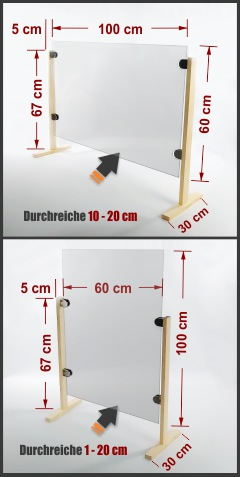 günstiger Spuckschutz Hustenschutz Thekenaufsatz Schreibtisch Acryl 100x60cm Pfosten eckig Glashalter V2A