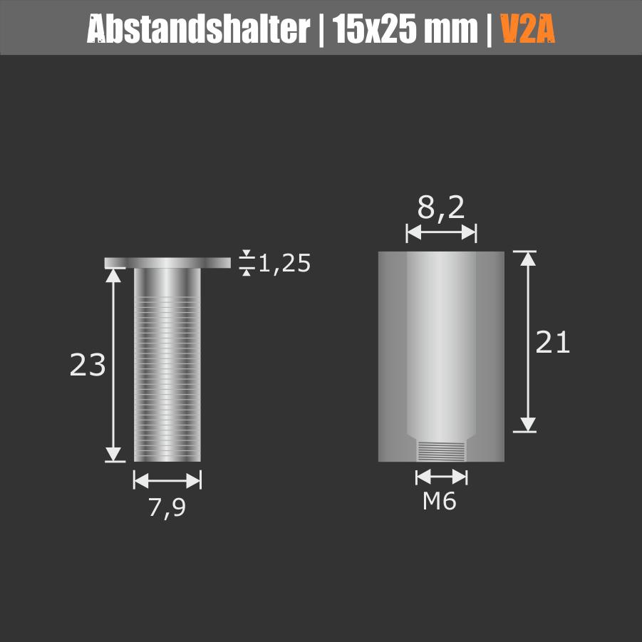 Werbeschild-Befestigung V2A Ø 15mm WA:25mm PS: 1-17mm | Stockschraube