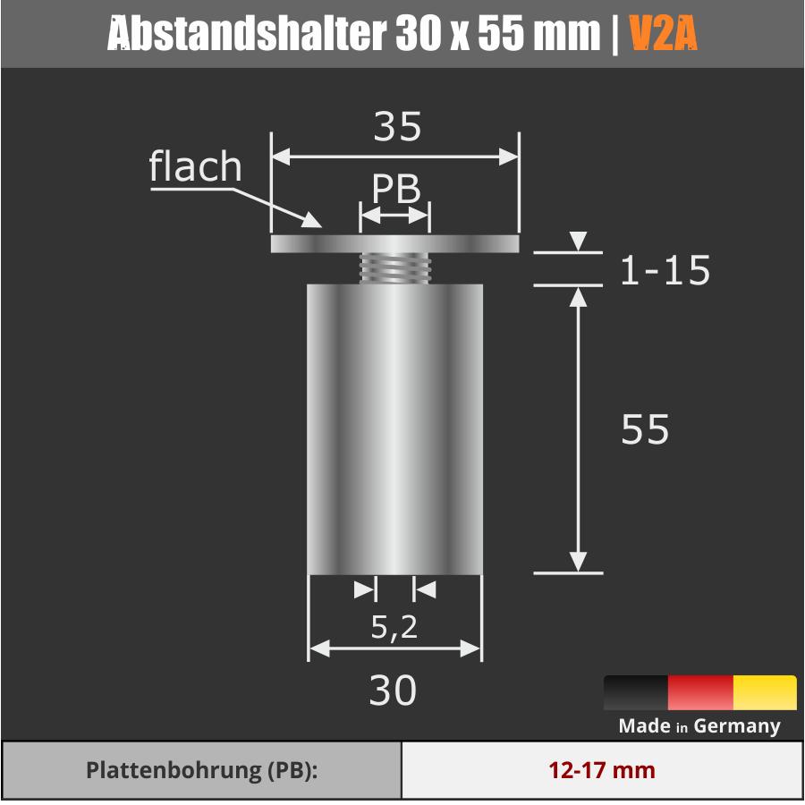 Großer Kleiderhaken zum Schrauben Edelstahl Kopf-Ø: 35mm Ø30mm WA:55mm PS: 1-15 mm