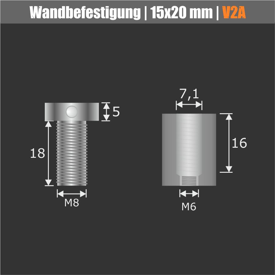 Edelstahl V2A Wandbefestigung mit schraubbaren Kopf Ø 15 mm