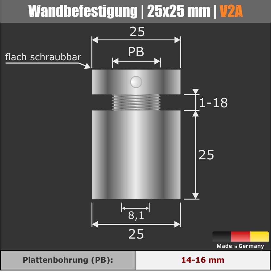 Wandbefestigung V2A zum schrauben mit M10 Gewinde