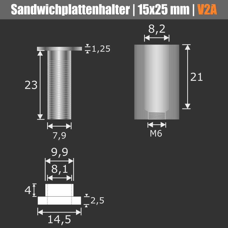 Sandwichplattenhalter V2A Ø15 WA:25mm PS:8-14 / 2x4-6mm Stockschraube