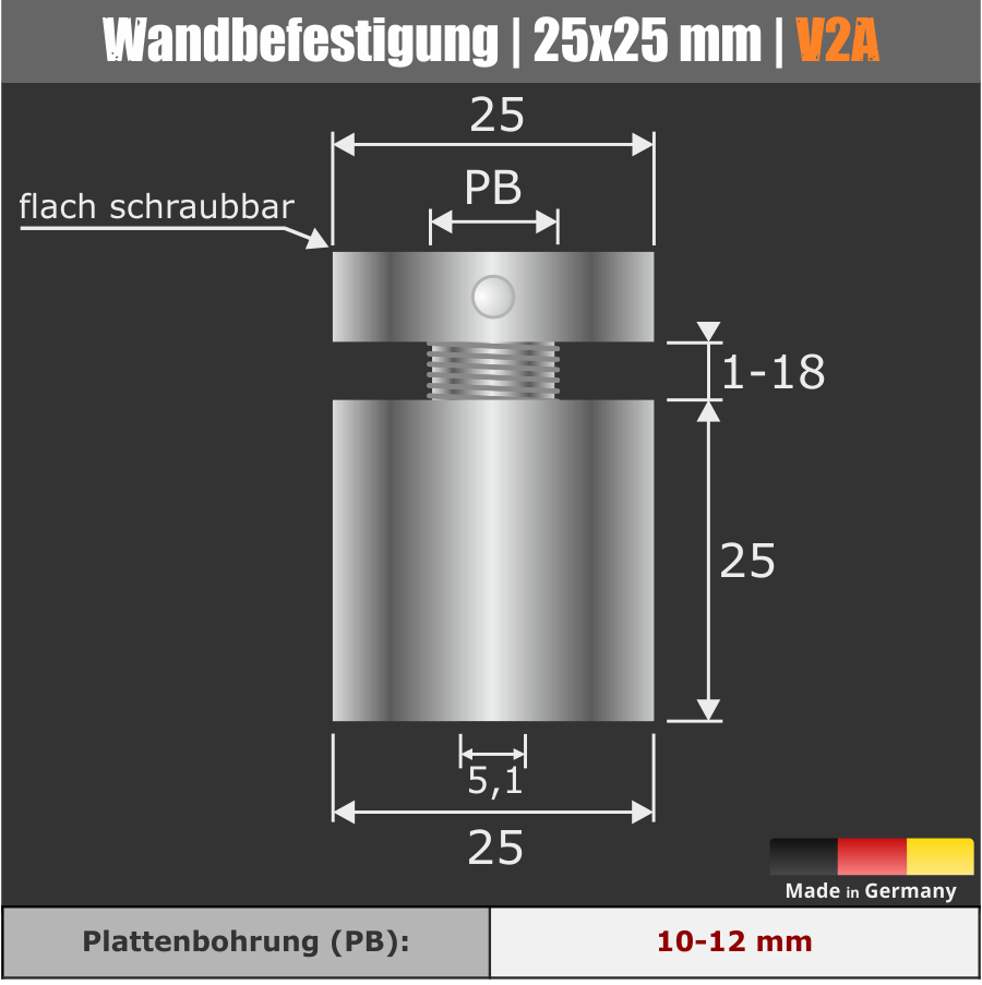 Wandbefestigung V2A zum schrauben