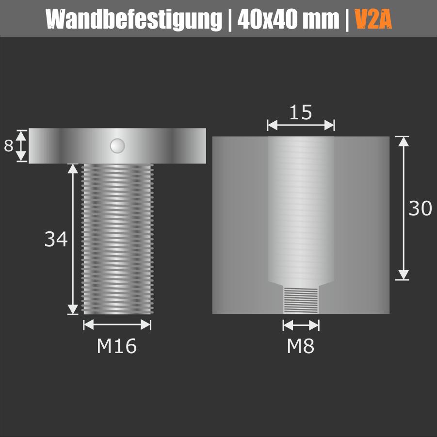 Wandabstandshalter V2A zum schrauben mit Stockschraube