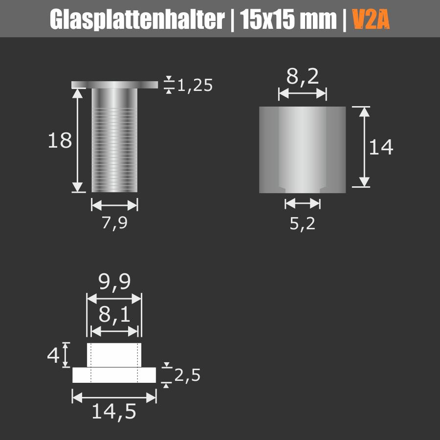 Glasplattenhalter + Kunststoffhülse