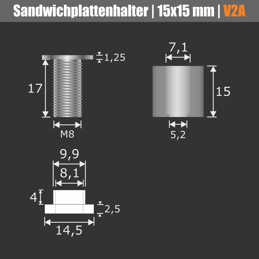 Sandwichplattenhalter schraubbar V2A