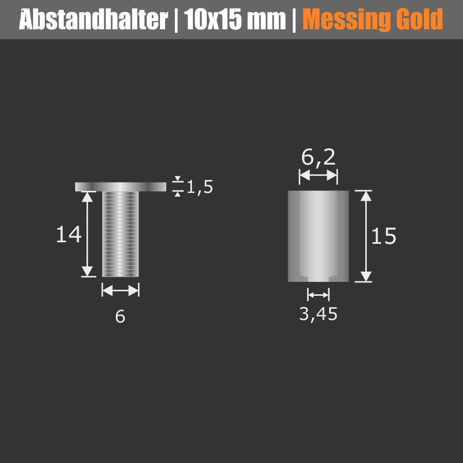 Abstandshalter aus Messing zur Schildermontage | Gold