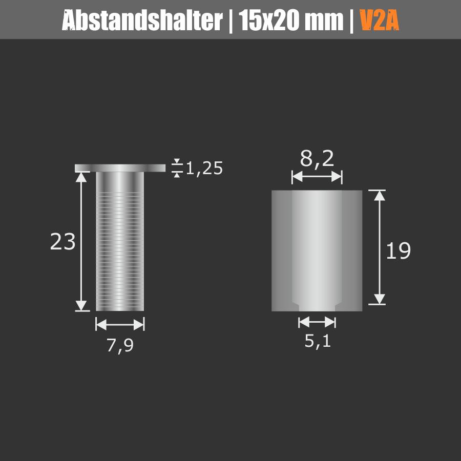 Abstandshalter rund Edelstahl V2A mit Madenschraube