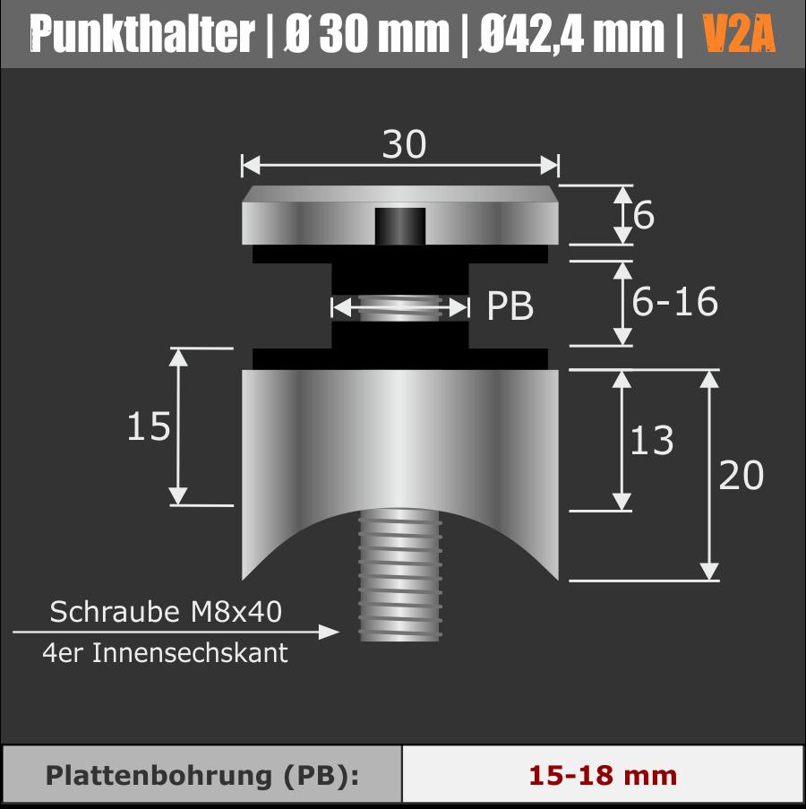 Punkthalter 30 mm Pfostenmontage Rundrohr Ø 42,4 mm