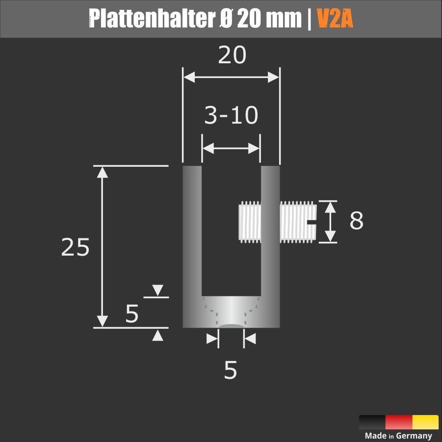 Plattenhalter | Klemmhalter | Glasbodenhalter Spuckschutzhalter Edelstahl V2A Ø 20 mm Länge 25 mm PS: 2-9 mm
