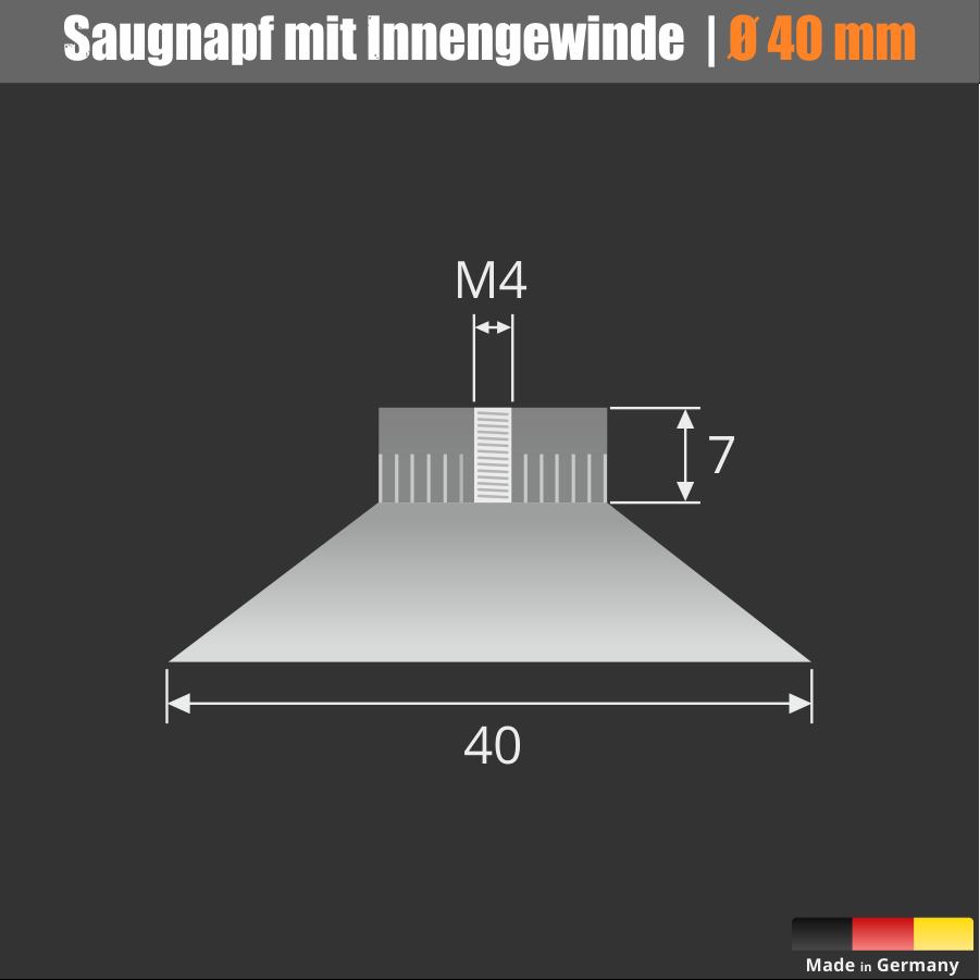 Saugnäpfe Ø 40 mm Saugnapf mit eingespritzter Gewindemutter M4
