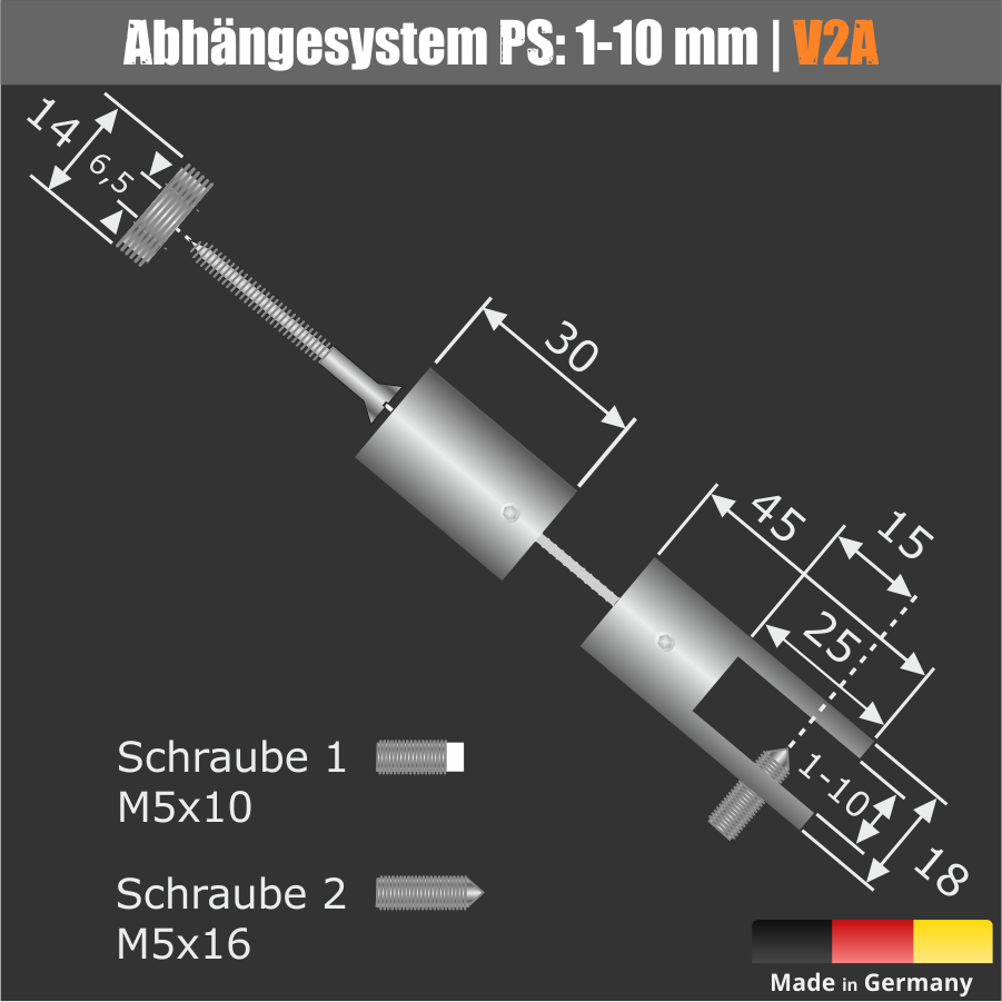 Edelstahl Abhängesystem Ø18mm PS:1-10mm Seil-Ø 1,5mm Seillänge 0,5-10m