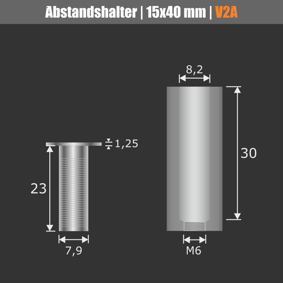 Lieferumfang: Abstandshalter lang Edelstahl V2A Ø 15mm WA: 40mm PS: 1-16mm | flach