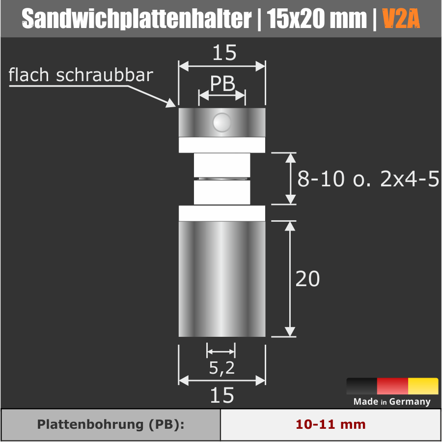 Sandwichabstandhalter V2A Ø15x20mm PS:8-10mm o.2x4-5mm | Stockschraube