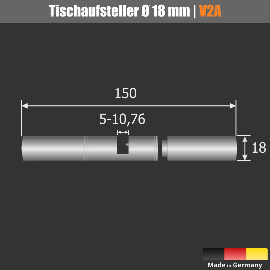 günstiger großer Tischaufsteller Tischklemmen Edelstahl 150mm Spuckschutz Wand Ø18mm PS:5-10,76mm
