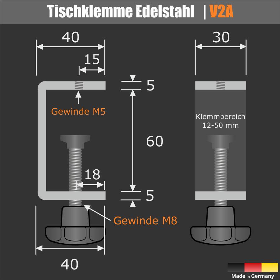 Tischklemme Edelstahl Spuckschutz Trennwand K:12-50mm+Halter 3-8mm