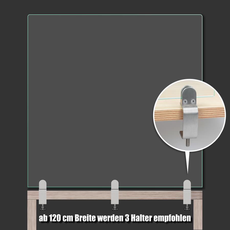 Tischklemme Edelstahl 1-50mm Spuckschutz Abtrennung Platten 3-8mm