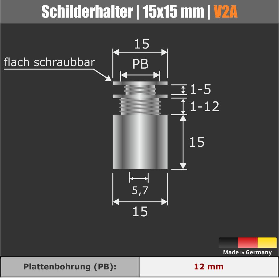 Schilderhalter Edelstahl V2A Ø 15 mm WA: 15 mm PS: 1-12 oder 2 x 1-5 mm | Schildermontage