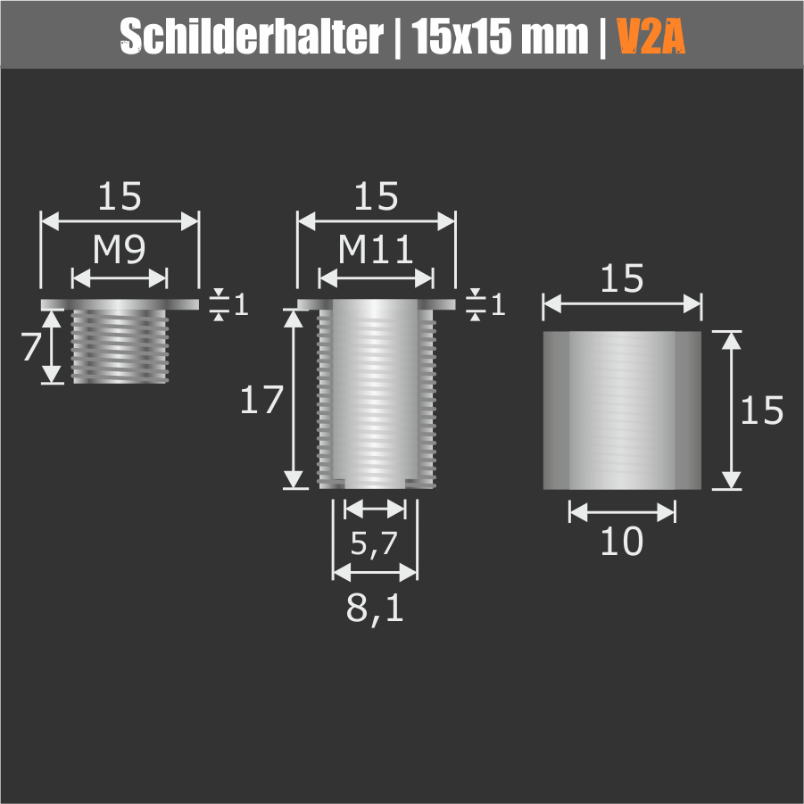 Schilderhalter Edelstahl V2A Ø 15 mm