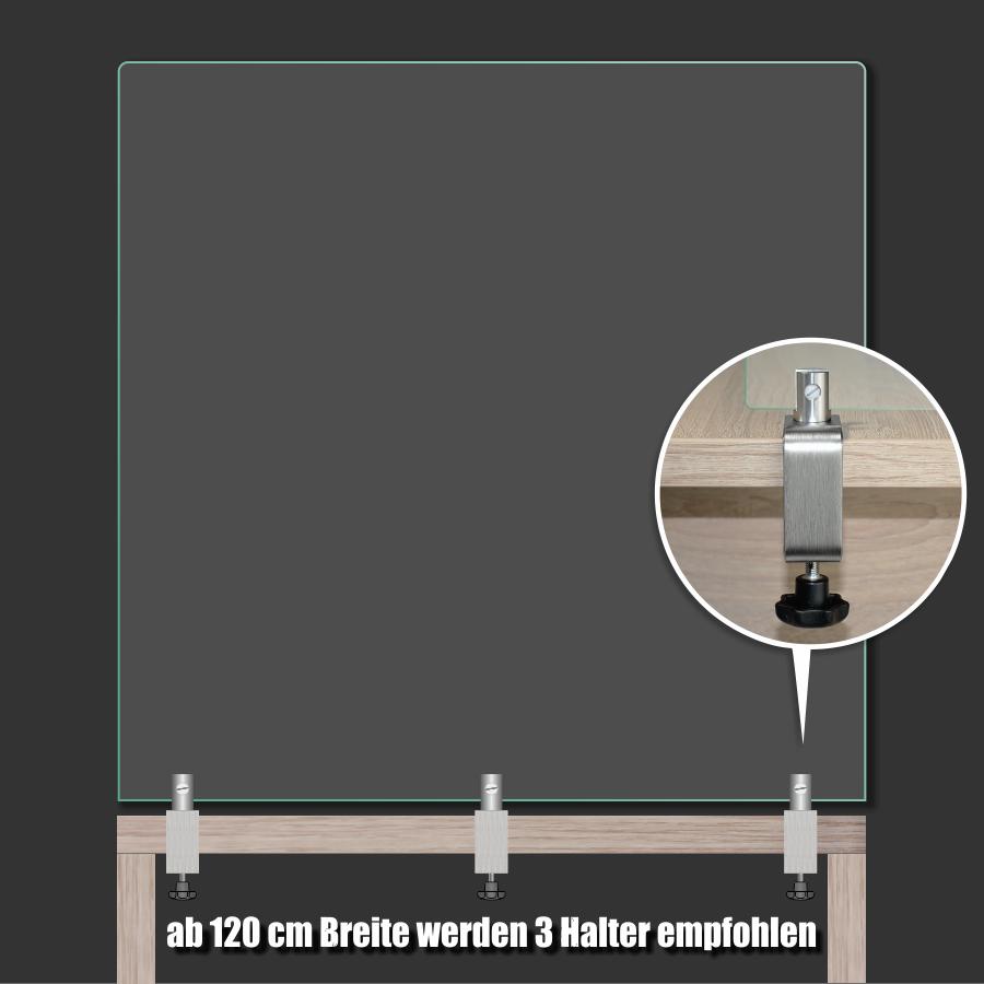 Tischklemme Spuckschutz Trennwand Edelstahl K:12-50mm+Halter 3-10mm | Schreibtischklemme | Werbeschild