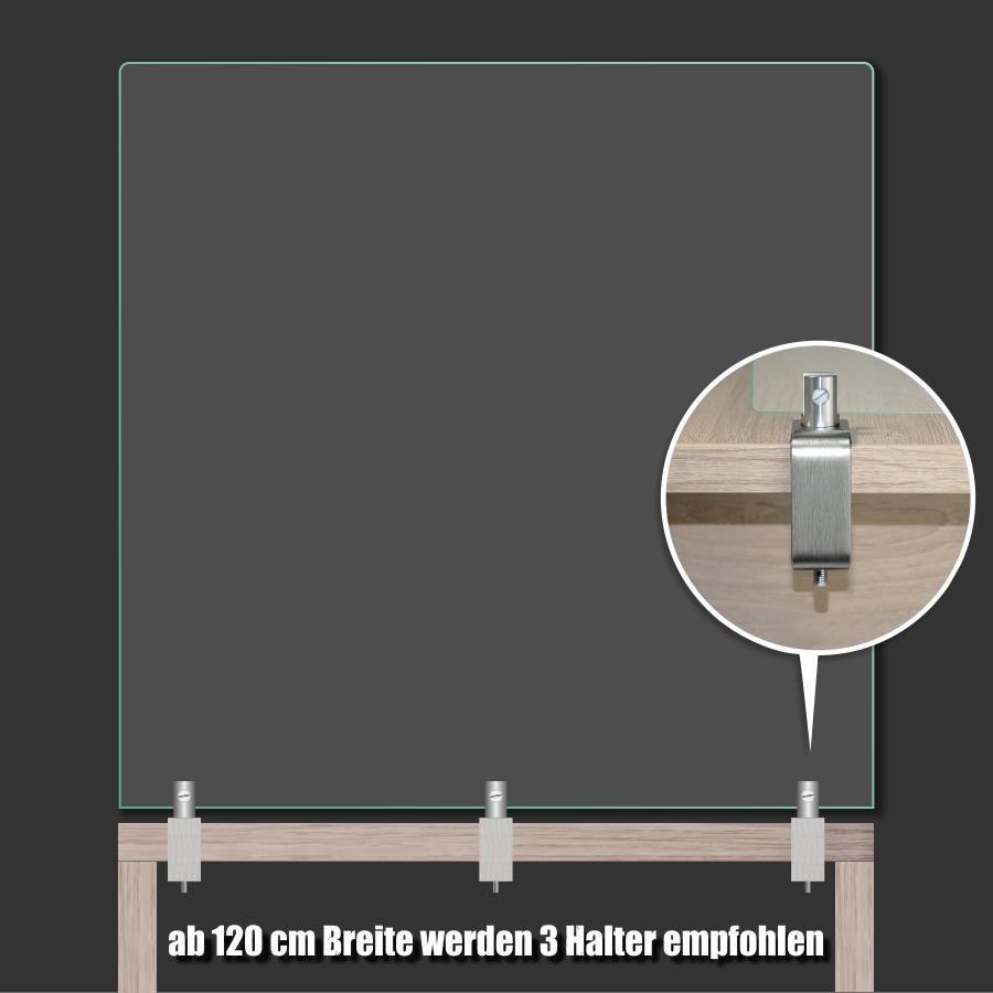 Tischklemme Spuckschutz Plexiglas Edelstahl K:1-50mm+Halter 3-10mm | Schreibtischklemme | Werbeschild