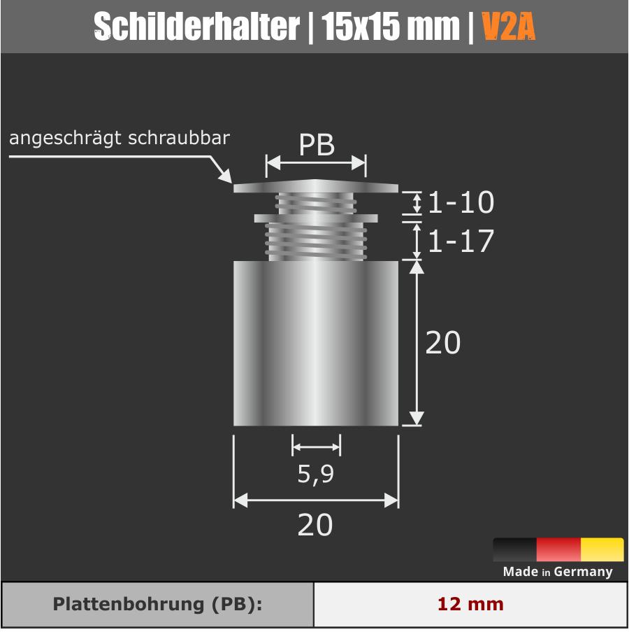 Schilderhalterung Edelstahl V2A Ø 20 mm WA: 20 mm