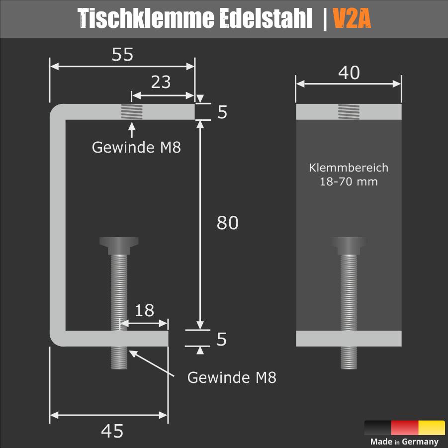 Tischklemme Edelstahl für dicke Tischplatten 18-70 mm
