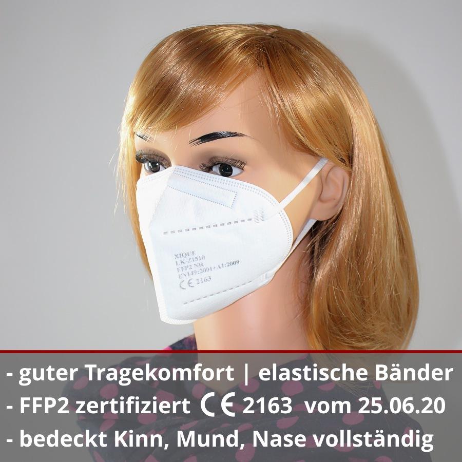 Spuckschutz Xique FFP2 Maske Atemschutzmasken CE Prüfstelle 2163 Zertifiziert 4-lagig Mundschutzmaske