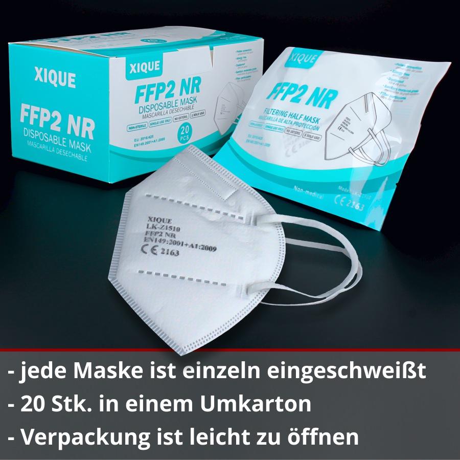 Spuckschutz Xique FFP2 Masken einzeln verpackt