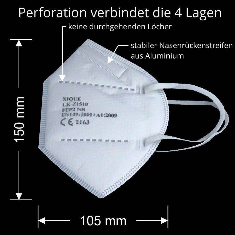 Spuckschutz Xique FFP2 Maske. Perfekter Zusammenhalt durch Perforations der einzelnen Lagen