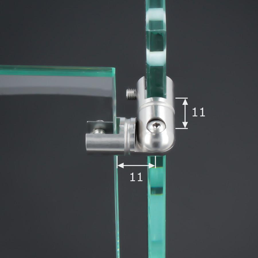Eckverbinder 90° Edelstahl Spuckschutz Glas Platten Ø 11 mm PS: 2-6 mm Gelenkverbinder