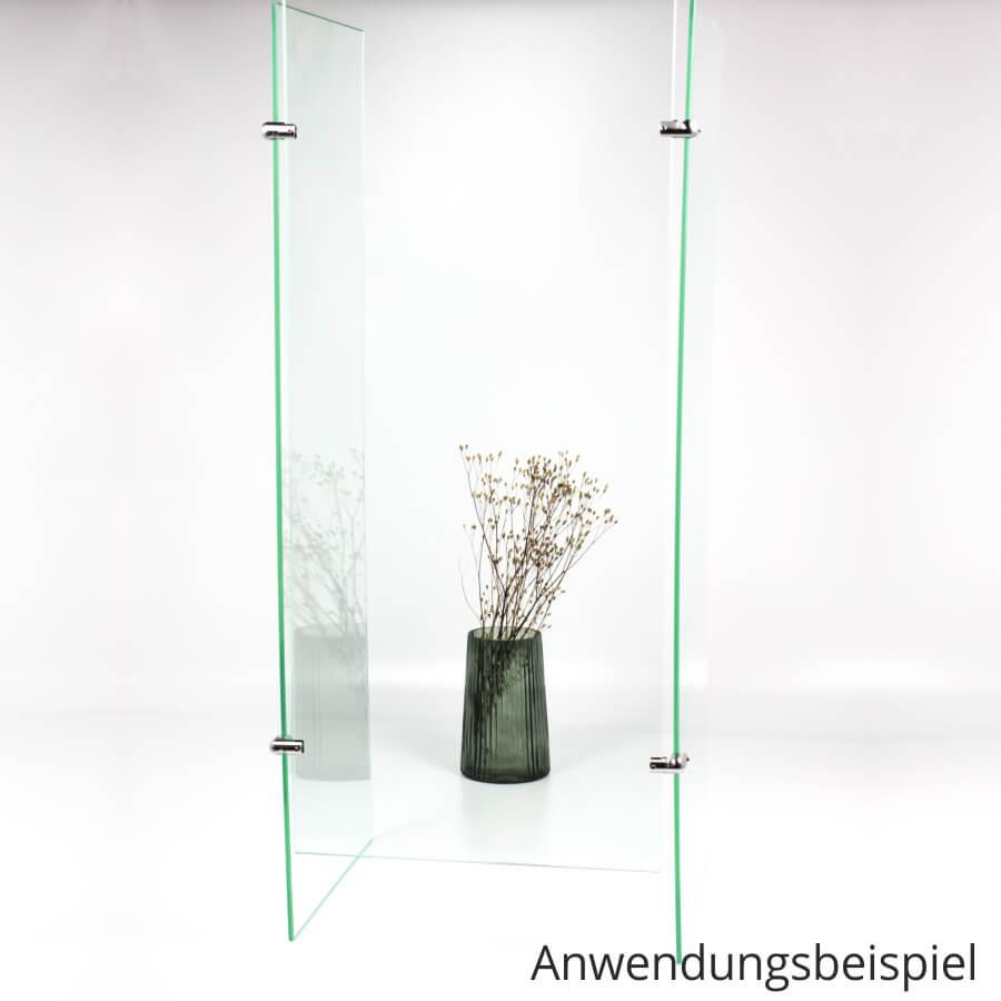 Spuckschutz-Wand Eckverbinder 90° Edelstahl Platten PS: 2-10 mm