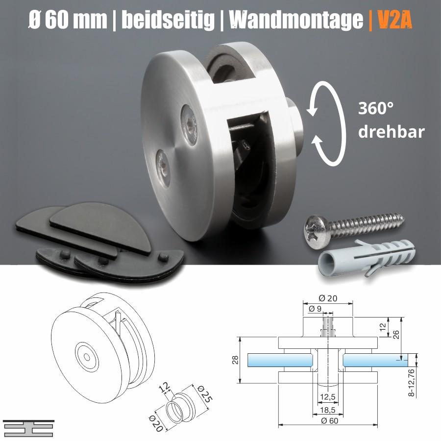 Glashalter Edelstahl rund Ø 60mm vorgesetzte Montage vorne Geländer abnehmbar 360°