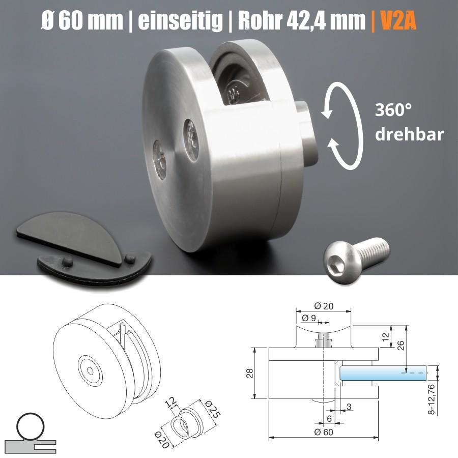Glashalter Edelstahl rund Ø 60mm vorgesetzte Montage vorne Geländer Rohr abnehmbar 360°