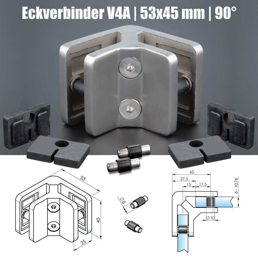 Eckverbinder 90° Edelstahl Geländer Balkon Ecke Glas VSG ESG 53x45mm PS: 6-10,76 mm