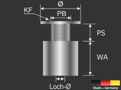 Edelstahl V4A Glasplattenhalterung 15 x 15 mm für Platten von 4-6 mm oder 2 x 2-3 mm Stärke gedacht.