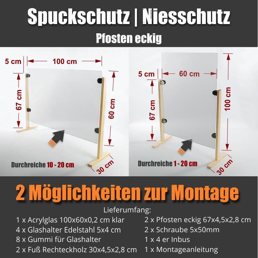 günstige Spuckschutzwand Hustenschutz Thekenaufsatz Schreibtisch Acryl 100x60cm Pfosten eckig Glashalter V2A