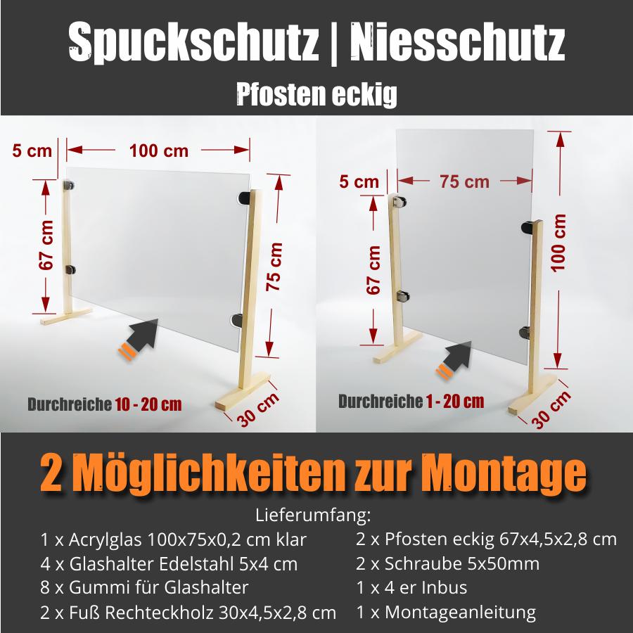 günstiger Spuckschutz Hustenschutz Thekenaufsatz Schreibtisch Acryl 100x75cm Pfosten eckig Glashalter V2A