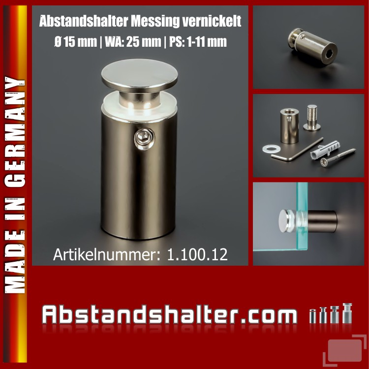 Abstandshalter Messing vernickelt  Ø 15 mm WA: 25 mm PS: 1-11 mm