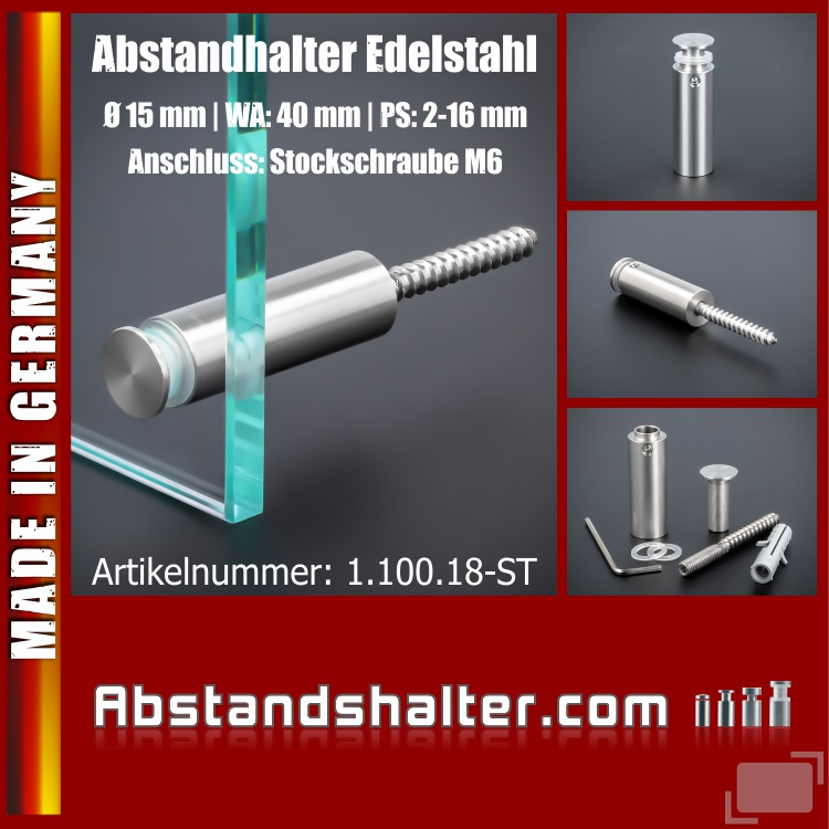 Lieferumfang: Abstandhalter Edelstahl Ø 15x40 mm PS: 2-16mm Schilder | Stockschraube