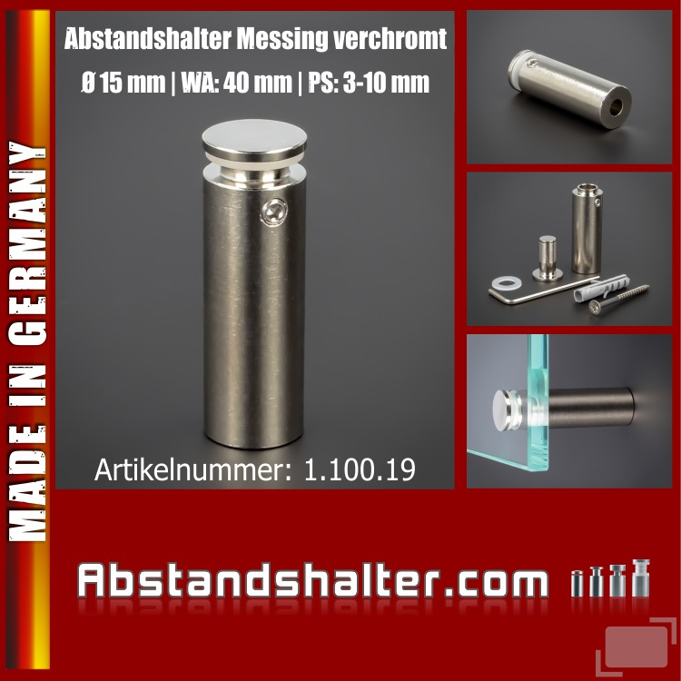 Abstandshalter Messing vernickelt chrom Ø 15 mm WA: 40 mm PS: 3-10 mm