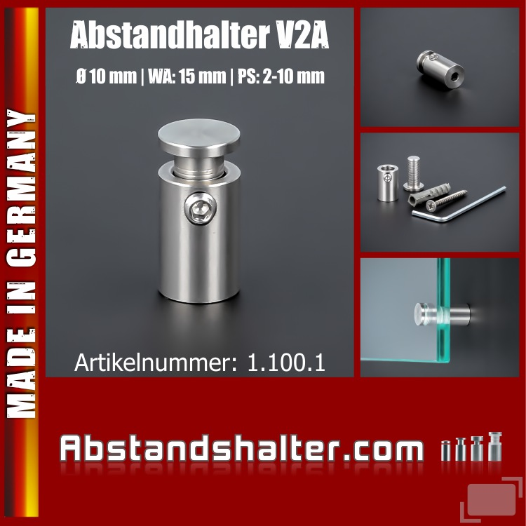Wandabstandhalter Abstandshalter Edelstahl Ø 10 mm | Abstandhalter | PS: 2-10 mm