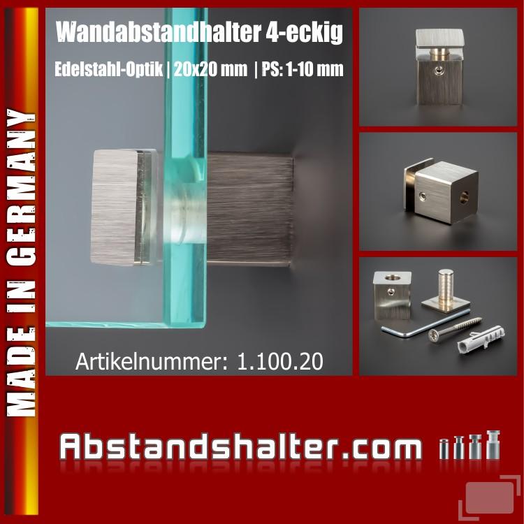 Wandabstandhalter 4-eckig Messing Edelstahl-Optik 20 x 20 mm WA 20 mm PS 1-10 mm
