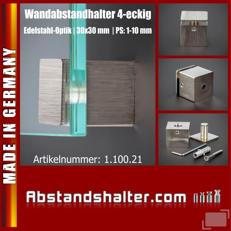 Wandabstandhalter 4-eckig Messing Edelstahl-Optik 30 x 30 mm WA 25 mm PS 1-10 mm