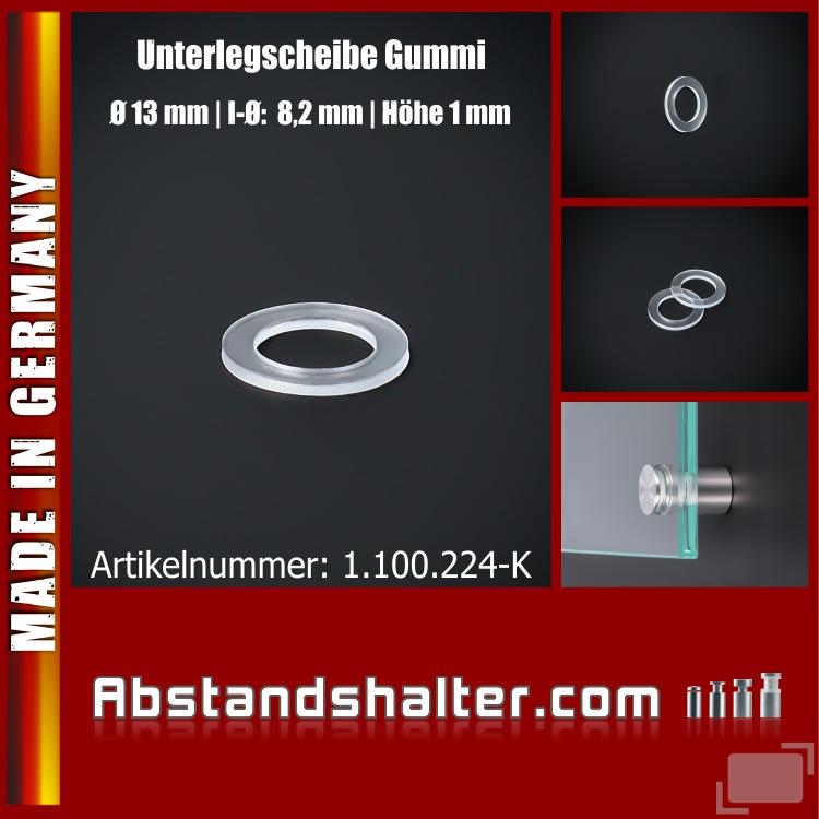 Unterlegscheibe Gummi Ø 13 mm Innen-Ø: 8,2 mm Bundhöhe: 1,0 mm