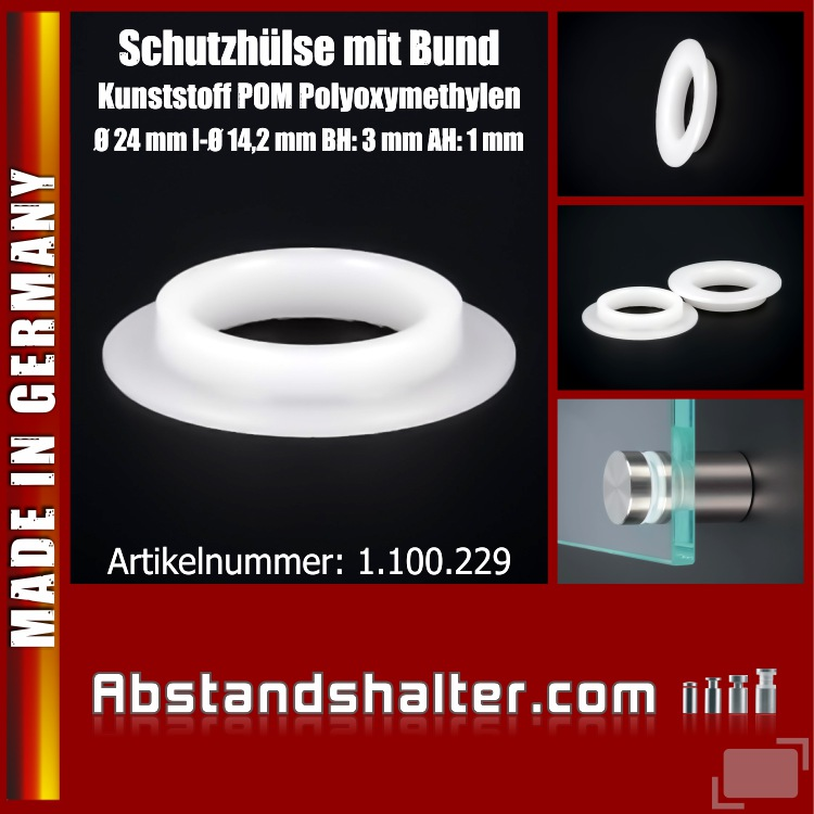 Schutzhülse M14 Kunststoff Bund Ø24mm I-Ø:14,2mm PB:18mm BH:3mm AH:1mm
