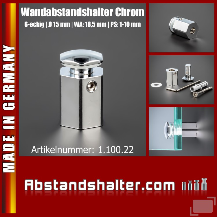 Wandabstandshalter Chrom Ø 15 mm WA 18,5 mm PS 1-10 mm