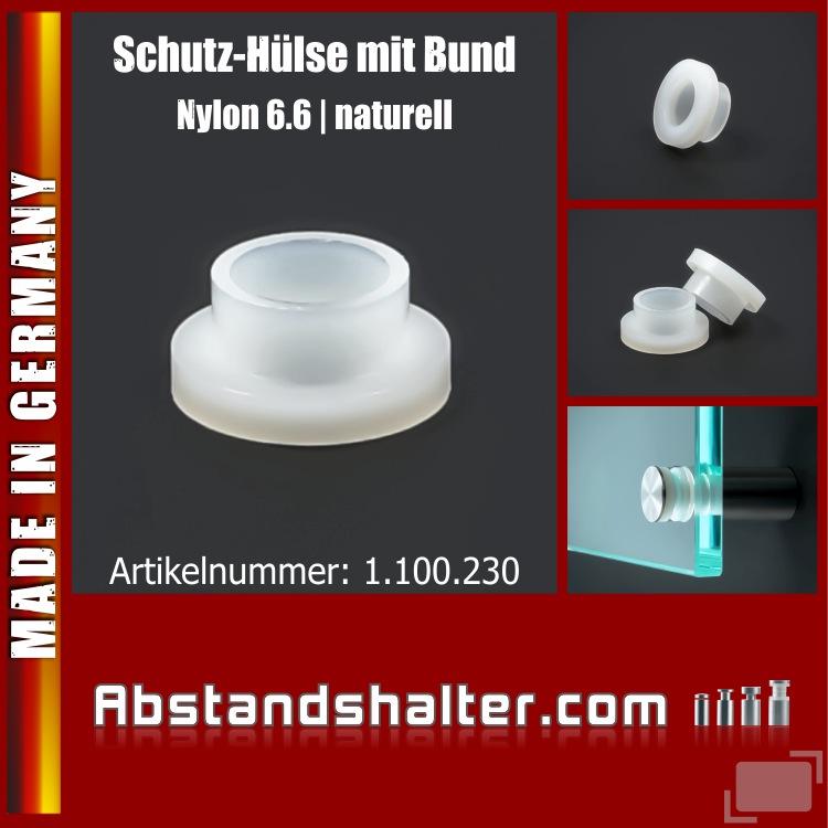 Schutz-Hülse Kunststoff mit Bund Ø 14,2mm I-Ø: 8,2mm PB: 10mm BH: 4mm