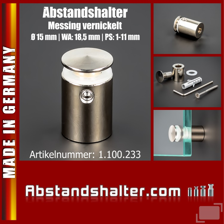 Abstandshalter Messing vernickelt angeschrägt Ø15mm WA:18,5mm PS: 1-11
