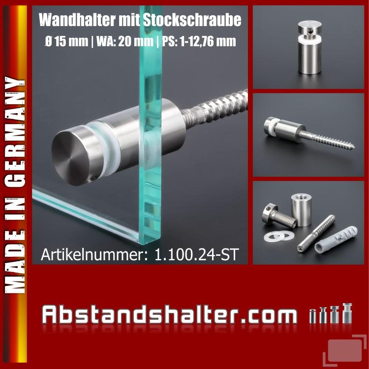 Lieferumfang: Wandhalter schraubbar V2A Ø15 mm WA:20 mm PS: 1-12 mm | Stockschraube